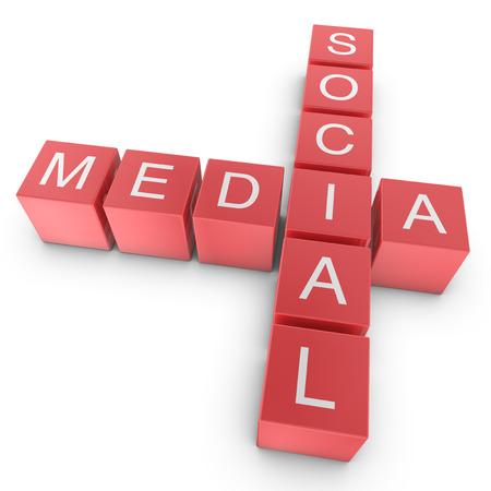 Red Social Media Crossword Concept, 3D Illustration illustration