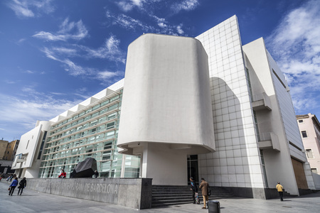 BARCELONA,SPAIN-MARCH 19,2013: Modern architecture, Museum, MACBA-Museu Art Contemporani,contemporary art museum by architect  Richard Meier. Raval quarter, Barcelona. Editoriali