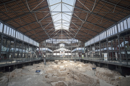 BARCELONA,SPAIN-NOVEMBER 5,2013: Interior, iron ceiling and archaeological site of El Born Cultural and Memorial Center, cultural space, housed in a building that was formerly El Born market. Barcelona.