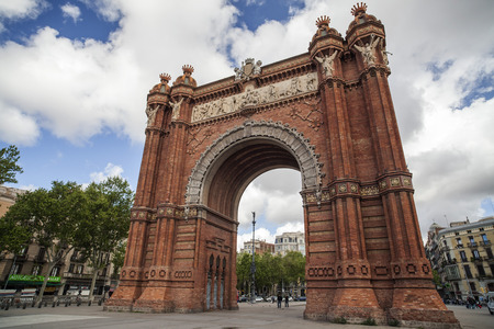 BARCELONA,SPAIN-MARCH 18,2014: Monument, Triumpal arch, Arc de Triomf, by Josep Vilaseca i Casanovas. Built as the main access gate for the 1888 Barcelona World Fair. Barcelona.