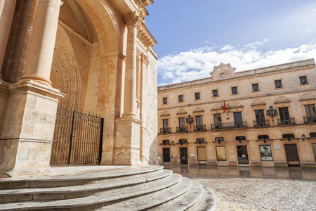 CIUTADELLA,SPAIN- JANUARY 22,2017: Street view and cathedral,historic area,Menorca island,Balearic Islands.