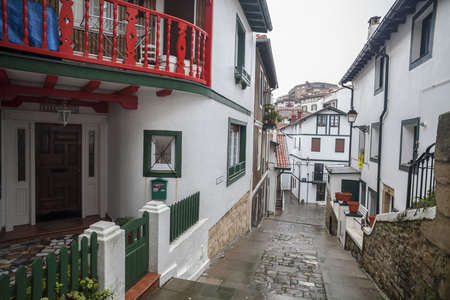 GETXO,SPAIN-JANUARY 11,2017: Ancient and picturesque street, old port ,puerto viejo de Algorta ,Basque Country.