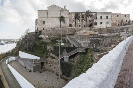francesc: MAO-MAHON,SPAIN-JANUARY 23,2017: Ancient church and convent Sant Francesc, baroque style,Menorca island,Balearic Islands.