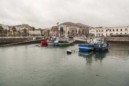 SANTURTZI,SPAIN-JANUARY 10,2017: Fishing port in Saturtzi ,Basque Country. Editoriali