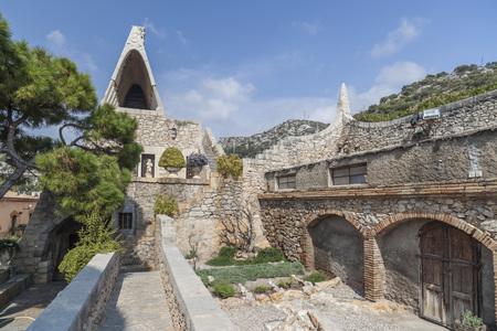 GARRAF,SITGES,SPAIN-MARCH 20, 2014: Architecture, modernist style, Celler Guell, by Antoni Gaudi, Garraf, Sitges, province Barcelona, Catalonia.