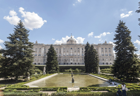 MADRID,SPAIN-JULY 21,2015: Palacio Real, royal palace, view from Sabatini gardens, Madrid. Editorial