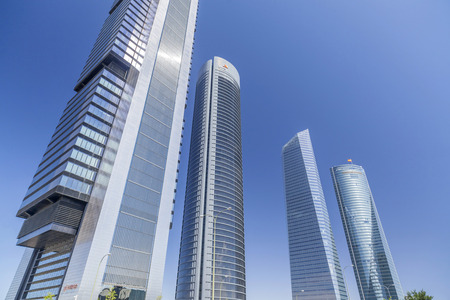 MADRID,SPAIN-JULY 25,2015: Four skyscraper tower in Cuatro Torres Business Area,Madrid. Editorial