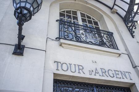 d argent: PARIS,FRANCE-JULY 22,2012: Historic restaurant La Tour d Argent, detail facade, Paris.