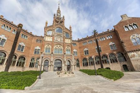 BARCELONA,SPAIN-NOVEMBER 12,2015: Architecture,modernist style,building entrance.Hospital de la Santa Creu i Sant Pau, by Lluis Domenech i Montaner.