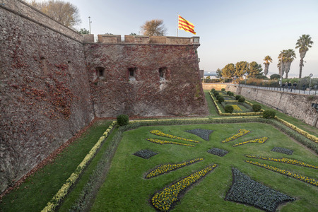 BARCELONA,SPAIN-DECEMBER 9,2015: Castle of Montjuic, on top of Park Montjuic, Barcelona.