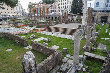 ROME,ITALY-MARCH 21,2012: Ancient roman ruins, Torre Argentina, Rome.