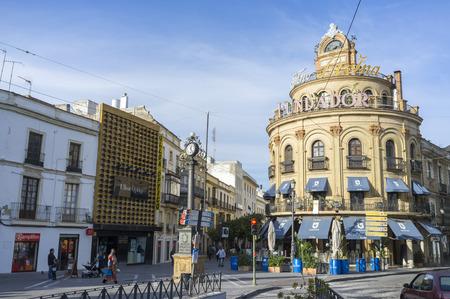 JEREZ DE LA FRONTERA,SPAIN-NOVEMBER 13,2016: Historic center city view, iconic building town, Edificio Gallo Azul and street, Jerez de la Frontera,Andalucia. Editorial