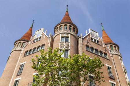 BARCELONA,SPAIN-AUGUST 6,2015: Casa de les Punxes or Casa Terrades, modernist building, designed by Josep Puig i Cadafalch. Editorial
