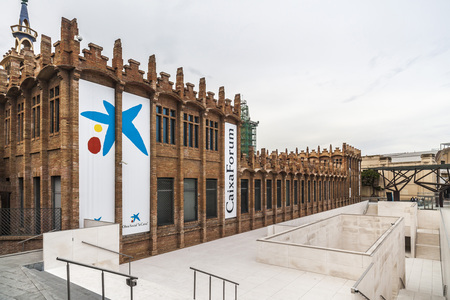 fabrica: BARCELONA,SPAIN-JUNE 8,2015:Architecture, building, modernist style, Fabrica factory Casaramona, by Josep Puig i Cadafalch. Reformed by Arata Isozaki. Hosts CaixaForum, cultural-artistic center. Editorial