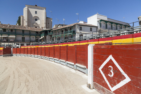 CHINCHON,SPAIN-JULY 24,2015: Plaza square Mayor of Chinchon adapted as a bullring.