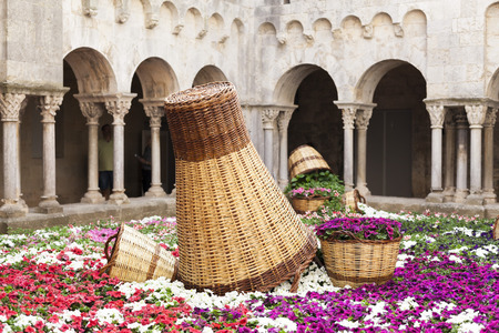 GIRONA,SPAIN-MAY 14,2015: Decorated cloister in spring festival flower, Temps de Flors, Girona, Catalonia.