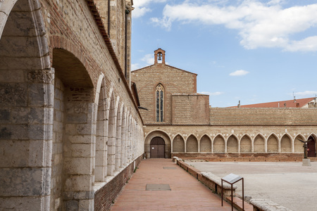 PERPIGNAN,FRANCE-JULY 23,2014:Architecture ancient religious building, Cathedral Basilica of Saint John the Baptist, detail of Campo Santo, mortician cloister, gothic style, Perpignan. Editorial