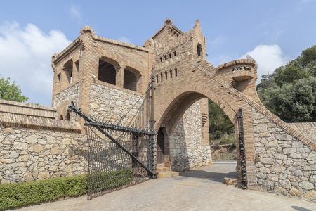 GARRAF,SITGES,SPAIN-MARCH 20, 2014: Architecture, modernist style, Celler Guell, by Antoni Gaudi. Editorial