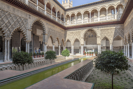 SEVILLE,SPAIN-SEPTEMBER 25,2013: Alcazar of Seville, Reales Alcazares de Sevilla, The Courtyard of the Maidens,Andalucia, Spain. Editorial