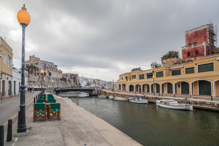 CIUTADELLA,SPAIN-MARCH 5, 2013: View of port of balearic city of Ciutadella, Balearic Islands, Spain.