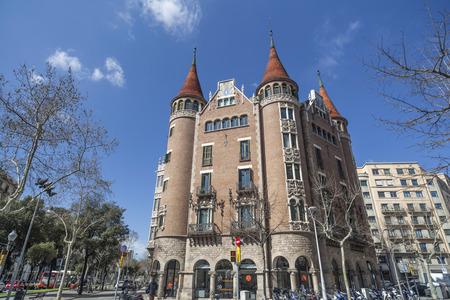 BARCELONA,SPAIN-MARCH 19,2013: Casa de les Punxes or Casa Terrades, modernist building, designed by Josep Puig i Cadafalch.