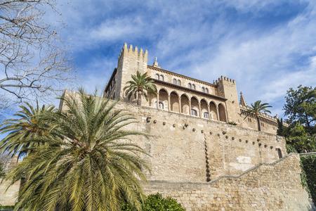 PALMA DE MALLORCA,SPAIN-JANUARY 16,2013: Royal palace of Almudaina, alcazar, fortified palace, Palma, Balearic Islands.