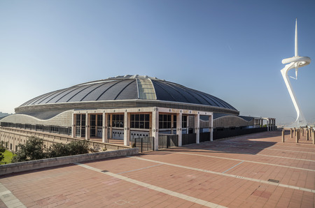 BARCELONA,SPAIN-NOVEMBER 16,2012: Palau Sant Jordi, by Arata Isozaki. Multipurpose building in olympic area in parc Montjuic.