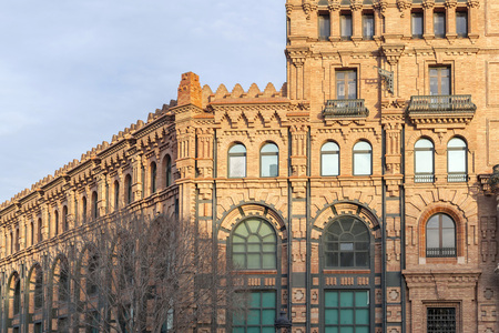 BARCELONA,SPAIN-JANUARY 7,2016: Architecture,modernist style,building.Central Catalana Electricitat, by architect  Pere Falques. Barcelona. Editorial
