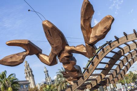 BARCELONA,SPAIN-NOVEMBER 26,2015: Urban art, sculpture La Gamba (Prawn) by Xavier Mariscal. Port Vell. Barcelona.