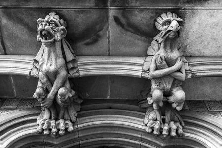 baro: BARCELONA,SPAIN-NOVEMBER 22,2015: Architecture, detail imaginary creatures in balcony of Palace, Palau del Baro de Quadras, by Josep Puig i Cadafalch,modernist style. Black and white.Barcelona.
