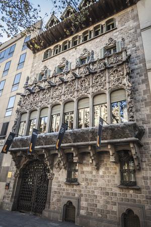baro: BARCELONA,SPAIN-NOVEMBER 22,2015: Architecture, facade building, modernist style, Palace, Palau del Baro de Quadras, by Josep Puig i Cadafalch, actually host Ramon Llull institute.Barcelona.