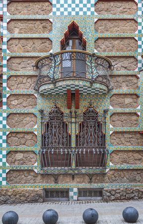 BARCELONA,SPAIN-NOVEMBER 13,2015: Casa Vicens, modernist building by Antoni Gaudi. Detail facade,window and balcony.First house designed by Gaudi.