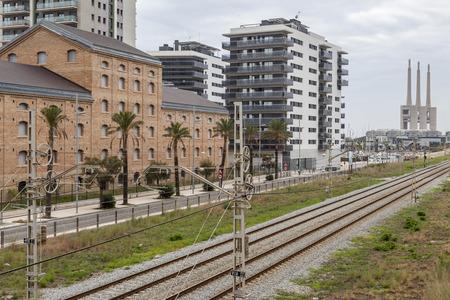 BADALONA,SPAIN-OCTOBER 1,2015: City view, buildings old and modern, rail track, Badalona,province Barcelona,Catalonia.