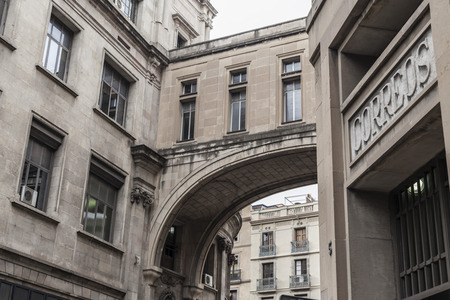 BARCELONA,SPAIN-AUGUST 31,2015: Classic facade building , Correos, Post Office building, Barcelona. Editorial