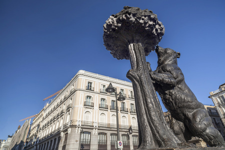 MADRID,SPAIN-JULY 21,2015: Puerta del Sol, square, plaza, and statue of the bear and the strawberry tree, Madrid.