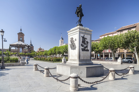 ALCALA DE HENARES,SPAIN-JULY 24,2015: Square, Plaza Cervantes, Alcala de Henares, province Madrid, Spain.