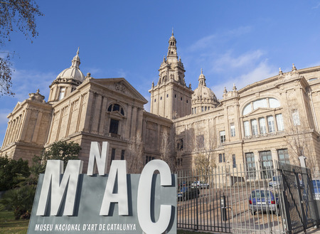 BARCELONA,SPAIN-MARCH 4,2015: National palace, Palau nacional, hosts MNAC-museum national art of Catalonia, park montjuic, Barcelona. Editöryel