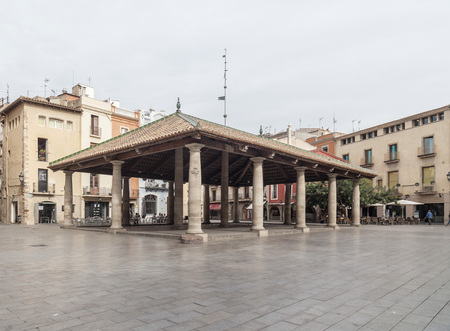 GRANOLLERS,SPAIN-OCTOBER 21,2014: La Porxada, ancient corn exchange in historic center of Granollers, province Barcelona, Catalonia.