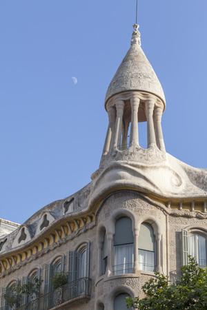 BARCELONA,SPAIN-JULY 16,2013: Architecture, detail facade building, House, Casa Sayrach, modernist building by Manuel Sayrach, Eixample district, Barcelona. Editorial