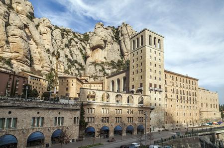 MONTSERRAT,SPAIN-JANUARY 23,2012: Benedictine abbey monastery of Santa Maria de Montserrat, mountain of Montserrat,  touristic destination religious-cultural, province of Barcelona, Catalonia, Spain.