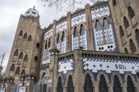 BARCELONA,SPAIN-MARCH 17,2013: Architecture, building, Bullring, Plaza de Toros Monumental, modernist style,Barcelona.
