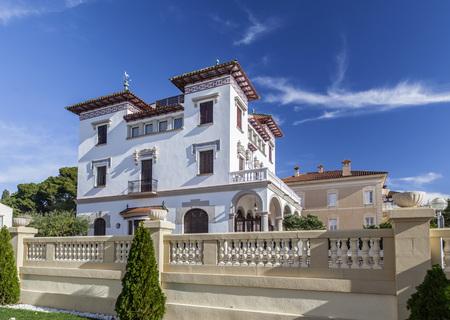SALOU,SPAIN-NOVEMBER 29,2012: Artistic building, modernist style,Xalet Miarnau Navas or Verge de la Pineda, maritime promenade of Salou, Costa Daurada, province Tarragona, Catalonia.