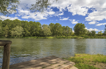 Landscape river Ter, spring day in Manlleu, province Barcelona, Catalonia, Spain.