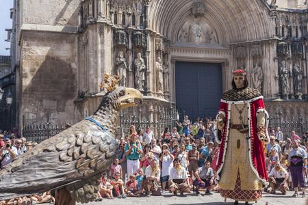 VILAFRANCA DEL PENEDES,SPAIN-AUGUST 29,2015: Traditional summer festival, Festa Major,giants in front the church, Vilafranca del Penedes,Penedes wine region, province Barcelona,Catalonia. Editöryel