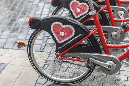 BILBAO,SPAIN-JANUARY 11,2017: Row of public bikes ,Basque Country. Editorial