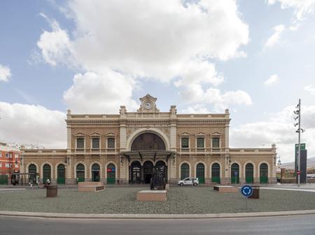 CARTAGENA,SPAIN-SEPTEMBER 22,2017:Architecture,train station,modernist building by Victor Beltri,Cartagena,Spain. Editorial