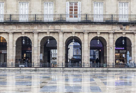 BILBAO,SPAIN-JANUARY 11,2017:New square, Plaza Nueva or Plaza Barria, monumental square, neoclassical style.Bilbao. Editorial