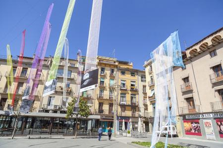 OLOT,SPAIN-MAY 8,2017:Main square, Plaza Major,Olot,Catalonia,Spain.