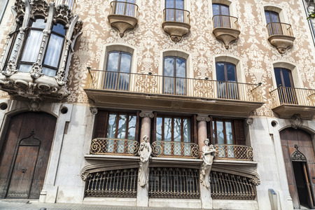 OLOT,SPAIN-MAY 8,2017:Architecture,modernist style building,Casa Sola Morales by Lluis Domenech i Montaner.Olot,Catalonia,Spain.