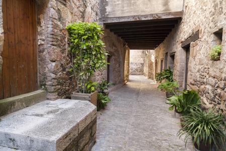 SANTA PAU,SPAIN-MAY 9,2017:Ancient street in Santa Pau,Catalonia,Spain. Editorial
